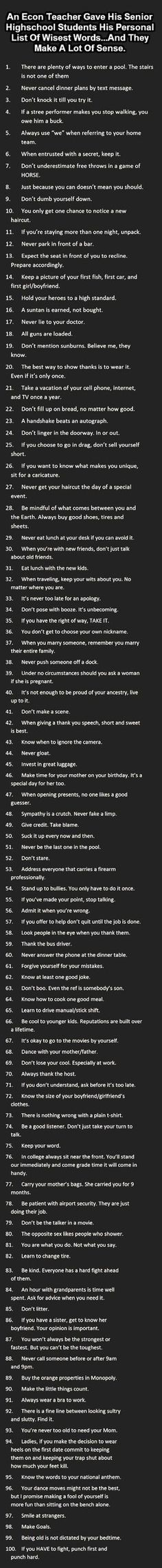 List Of Wisest Words - Couple of mistakes, but solid advice!