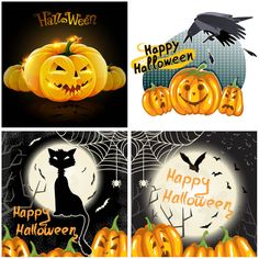 Three Sets of Halloween Background Designs Vector