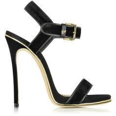 DSquared2 Designer Shoes Black Velvet and Suede High Heel Sandal ($450) ❤ liked on Polyvore featuring shoes, sandals, ankle strap heel sandals, evening sandals, high heel shoes, black sandals and black suede shoes