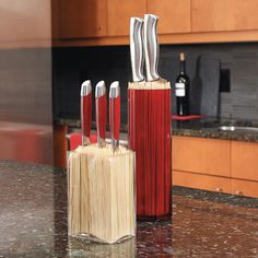 """Make a custom """"block"""" to contain your kitchen knives. This storage idea is easy to change as your collection grows."""