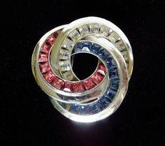 Vtg 1940s Patriotic Red White Blue Rhinestone Rhodium Swirl Fur Pin Brooch WWII #UnsignedDesigner