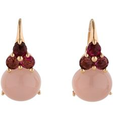 Pre-owned Pomellato Luna Earrings with Pink Tourmaline and Rose Quartz (28 360 SEK) ❤ liked on Polyvore featuring jewelry, earrings, pomellato earrings, pink tourmaline earrings, cabochon earrings, rose jewelry and pomellato jewelry