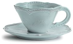 Marletto Aqua Scalloped Cup and Saucer - transitional - Cups And Glassware - Bliss Home & Design