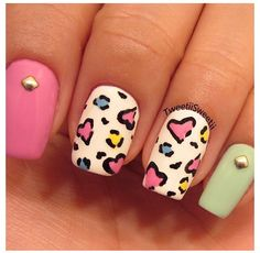 So cute! Nails love the colors