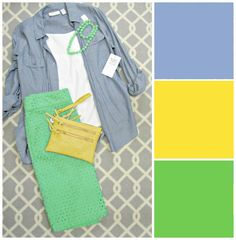 outfit spring 2016 colors serenity, buttercup, and green flash