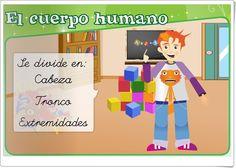 """""""El cuerpo humano"""", de la Junta de Castilla La Mancha, es una aplicación que presenta de forma expositiva e interactiva el conocimiento sobre las partes del cuerpo humano, los sentidos y la higiene para el cuidado del cuerpo."""