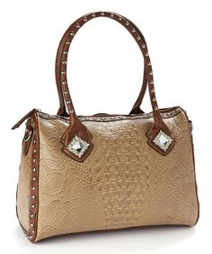 This Tan & Sparkle Crocodile Shoulder Bag is perfect! #zulilyfinds