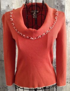 Cache Silk Blend Ribbed Knit Stretch Top Blouse 3/4 Sleeves Size Medium #Cache #Top