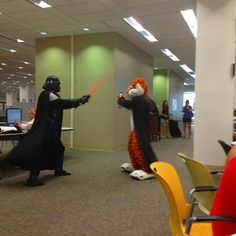 Reasons I love this picture 1. Aubie + Darth Vader in the library = EPIC 2. I'm standing in the background with @Sam Taylor Prouty