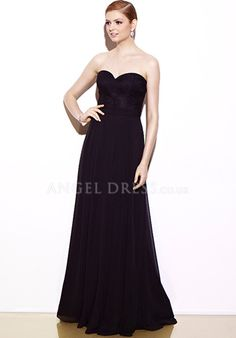 Floor Length Chiffon A line Sweetheart Natural Waist Evening Dress With Ruching