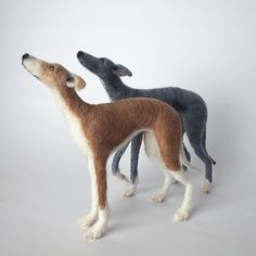 Needle felted Whippets, dog sculpture