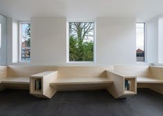 Joshua Florquin creates angular wooden joinery for doctor's surgery