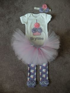 GIRLS Pink/ Purple Shabby Personalized Birthday Flower Cupcake Candle Baby Onesie Toddler 1st First Party Outfit Set leg warmers and tutu LOVEEEE THISSSSSSS!!!