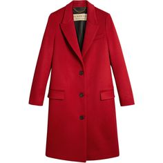 Burberry tailored single breasted coat ($1,925) ❤ liked on Polyvore featuring outerwear, coats, red, burberry coat, burberry, red coat, single-breasted trench coats and tailored coat