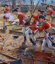 "bantarleton: ""Detail of British regulars at Lexington and Concord, by Don Troiani, "" British Army Uniform, British Soldier, American Revolutionary War, American Civil War, Military Art, Military History, British History, American History, Independence War"