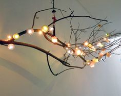Cute DIY with a branch and some string, bubble lights