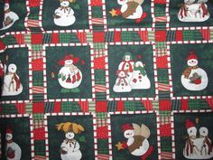 "Snowmen Christmas Fabric Green Background Snowman Family 45"" X 3 + Yards Sewing #Unknown"