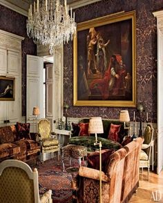 CHEZ PIERRE BERGÈ IN PARIS~ Bergé enlisted the design firm Studio Peregalli to transform the upper level of his Paris apartment. In the main salon, a bespoke damask-pattern canvas wall covering serves as the backdrop for a large painting by Antoine-Jean Gros; a 19th-century Swedish chandelier hangs above a pair of sofas upholstered in a handprinted velvet.