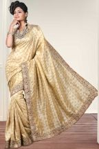 Wheat Brown Art Silk Embroidered Party and Festival Saree