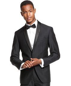 Ryan Seacrest Distinction Black Shawl Collar Tuxedo Slim-Fit Jacket