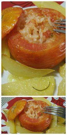 Pomodori al riso, con aggiunta delle patate, per un gustoso piatto unico! #pomodori #patate #ricettegustose