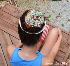 Learn how to create this adorable Sprinkled Donut on a Plate 'do from @smartgirlsdiy -- just in time for Crazy Hair Day at school.
