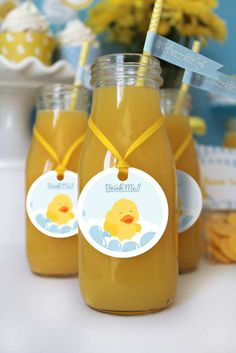 Yummy drinks at a rubber duckies baby shower party! See more party planning ideas at CatchMyParty.com!