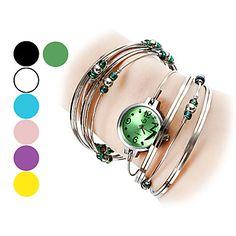 de acero de plata de las mujeres con el reloj pulsera de cuarzo analógico perlas (colores surtidos) – EUR € 6.43