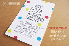 girls dinner // pizza party // printable invite