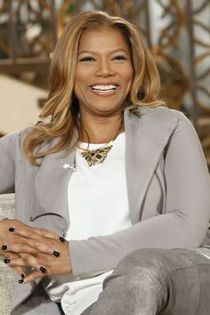 Cement Grey Jacket: Helmut Lang, Ivory Cream Blouse: Lafayette 148 New York, Metallic Leather Pants: Escada, Nude Suede Single Sole Pump: Stuart Weitzman, Gold Hoop Earrings: Claire's, Gold Jeweled Necklace: Alexis Bittar  // Queen Latifah Wardrobe Wrap-up 10.10.13
