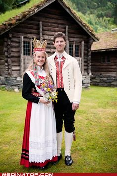 Traditional Norwegian wedding attire with bride wear large crown. Norwegian Wedding, Norwegian Style, Swedish Wedding, Scandinavian Wedding, Wedding Attire, Wedding Dresses, Wedding Outfits, Beautiful Norway, Ethnic Dress