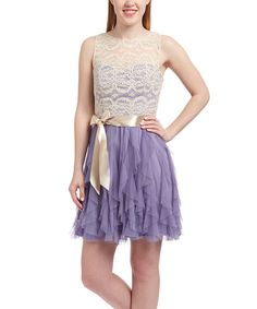 Look at this Natural Lilac & Cream Lace Ruffle A-Line Dress on #zulily today!