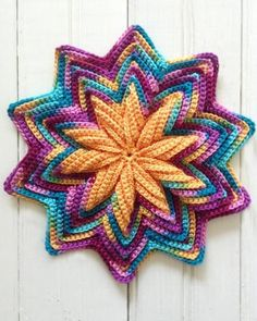Designer Notes: This pattern set evolved after most of the variegated thread used in my original version were discontinued within the first year of publication. This SC-in-BLO ripple design just MADEPicture of Scrap Mats & Coasters Set Crochet Patter Motif Mandala Crochet, Crochet Potholder Patterns, Crochet Dishcloths, Crochet Home, Crochet Crafts, Crochet Projects, Free Crochet, Crochet Hot Pads, Crochet Chicken