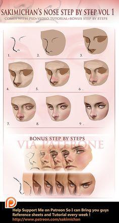 Nose step by step tutorial (term 3 reward) digital art nose - Digital Art art tutorial face Nose Step By Step Tutorial (Term 3 Reward) Digital Painting Tutorials, Digital Art Tutorial, Painting Tips, Art Tutorials, Digital Paintings, Matte Painting, Doodle Drawing, Nose Drawing, Skin Drawing