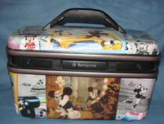 Made to Order - Minnie Mouse themed upcycled vintage train case makeup bag suitcase travel