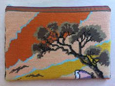 """Needlepoint laptop sleeve, 14"""" Apple Macbook computer bag, sunset hand stitched e-bag by KindredClassics on Etsy Cross Stitch Rose, Computer Bags, Needlepoint Canvases, My Canvas, Hand Stitching, Laptop Sleeves, Macbook, Repurposed, Apple"""
