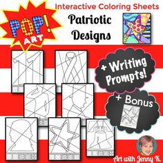 September 11th, Veteran's Day, Memorial Day, President's Day & Independence day can all be honored with these interactive coloring sheets + 5 writing prompts.