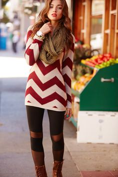 Printed Sweater Tunic: Charlotte Russe