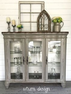 Sold Grey painted Hutch& Buffet& China cabinet with by UTurnDesign Decor, Redo Furniture, Refurbished Furniture, Painted Furniture, Painted China Cabinets, Home Decor, Furniture Rehab, Furniture Makeover, Cabinet Makeover