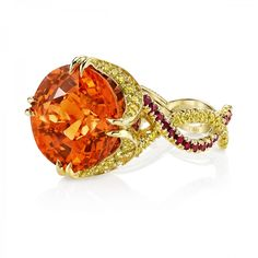 Omi Prive: Spessartite Garnet and Yellow Diamond Ring