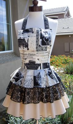 A personal favorite from my Etsy shop https://www.etsy.com/listing/158554451/diva-apron-black-and-ivory-vintage-paris