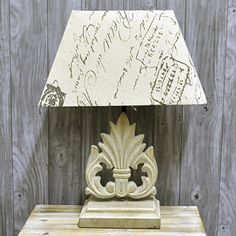 44cm French Style Farmhouse Script Print Linen Shade Carved Wooden Base Table Lamp AcaciaHome http://www.amazon.co.uk/dp/B00LFO8D7W/ref=cm_sw_r_pi_dp_iyrBub0SBEXJE