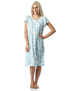 4f33b661a9 Casual Nights Womens Fancy Lace Flowery Short Sleeve Nightgown Green Large  -- Check this awesome