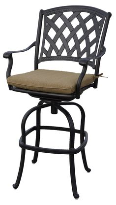 Darlee 201630-7-2 Ocean View Cast Aluminum Swivel Bar Stool with Seat Cushion (Set of 2), Antique Bronze. Weather-resilient hand made durable cast aluminum construction Powder-coated with elegant multi-step hand finish. Solid cast aluminum basket weave design seat. Sesame-colored seat cushion made of 100% polyester. Nylon glides on all legs.
