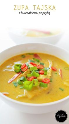 Tajska zupa z kurczakiem Thai Recipes, Soup Recipes, Diet Recipes, Recipies, Japanese Food, Thai Red Curry, Food And Drink, Tasty, Lunch
