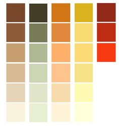 "color palettes for a Prairie style room. The first are your basic earthen hue colors. The colors are not bright nor jewel tones. They have a ""muted"" look, yet a rich tone can be achieved in the color."