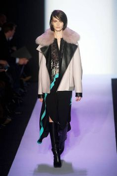 BCBG Max Azria AW14 runway   WOW. love the dramatic leather, the print, and the color.