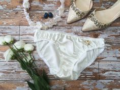 Cream Frosting' Satin Bridal Knickers Panties by 1LuckySewandSew