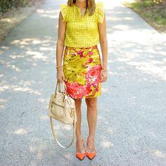 Yellow eyelet shirt, floral pencil skirt, orange heels