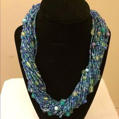 Talbots Blue Beaded Necklace